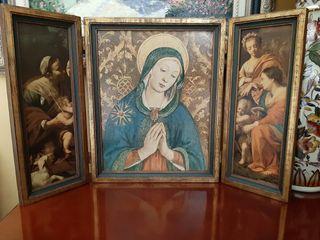 Antiguo tríptico madera virgen María