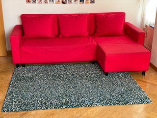 LUGNVIK sofá con chaise longue rojo