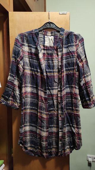 camisa larga cuadros