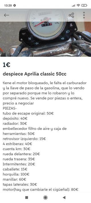 despiece Aprilia classic 50cc