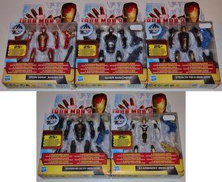 Marvel Iron Man 3. Cinco figuras de 10cm