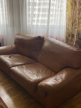 Sofa de piel autentica color marron