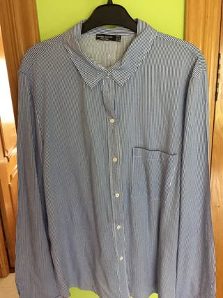 Camisa de listas azules Bershka