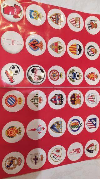 Pegatinas clubs fútbol + mochila coca cola nueva