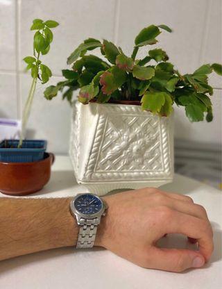 Reloj Casio Acero plata plateado azul gris dorado