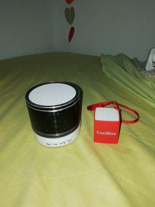 Altavoz negro pequeño+altavoz rojo mini