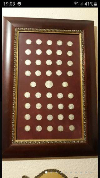 Cuadro colección monedas de plata de ley