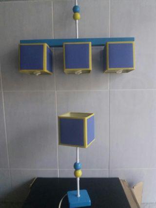 Conjunto de lampara y aplique juvenil.
