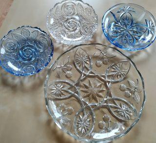 Platos de cristal tallado antiguos