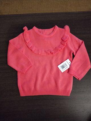 suéter de punto color coral niña 9-12 meses