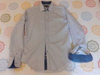 Camisa slim fit hombre blanco azul Zara