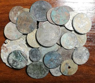 Lote más de 45 monedas para limpiar