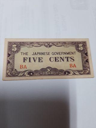 Billete ocupación japonesa