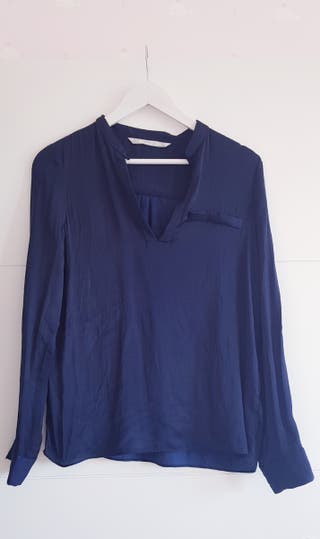 Camisa azul noche Zara talla XS