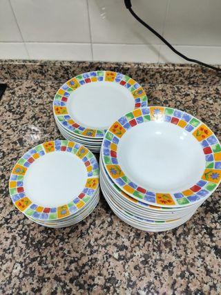 Vajilla/platos+6 vasos de regalo