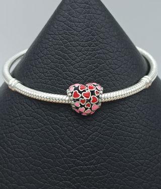 Charm corazón de corazones rojos y rosas plata 925