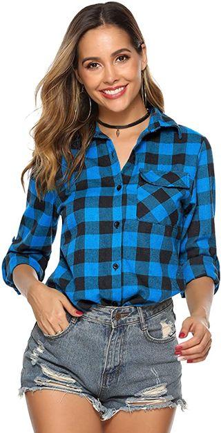 Hawiton Camisas Cuadros Mujer Blusas Franela