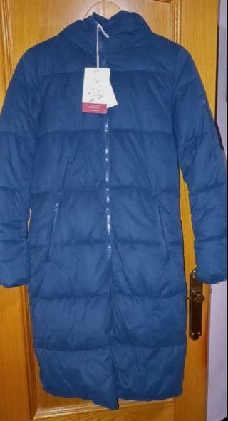 Anorak largo acolchado azul capucha Pull&bear.