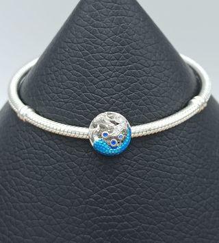 Charm redondo con sirena azul de plata S925