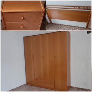 armario mesita habitación matrimonio completa