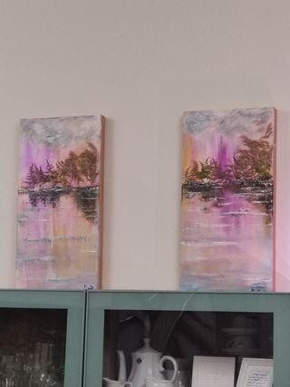 2 cuadros óleo a juego. 45x 20cm artista murciana.