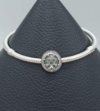 Charm redondo cristal blanco de plata S925.