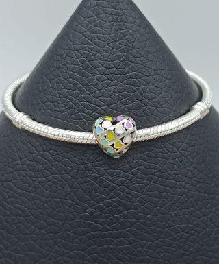 Charm corazón de esmalte multicolor plata S925.