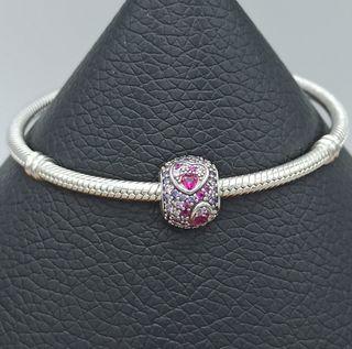 Charm corazones circonitas rosas plata 925.