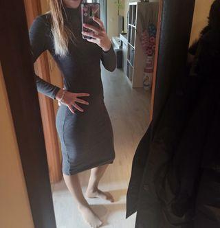vestido largo de invierno gris oscuro