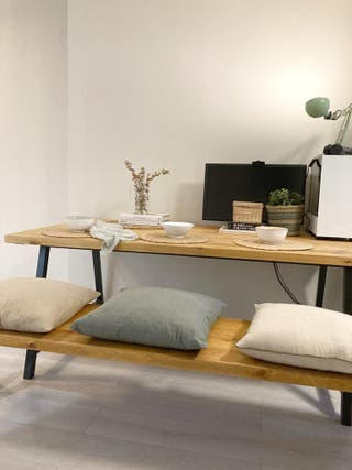 mesa y banco de madera