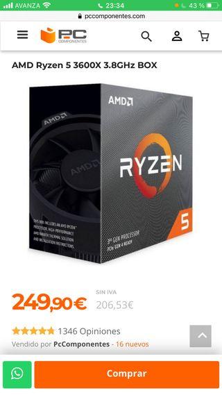 AMD Ryzen 5 3600X 3.8GHz BOX nuevo