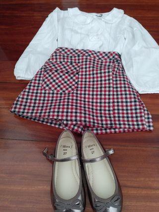 conjunto falda, camisa talla 6 y zapatos