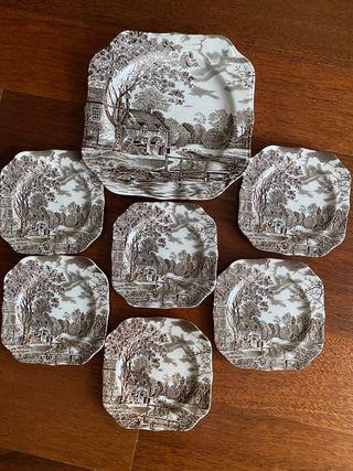 6 platos y fuente porcelana inglesa JOHNSON BROS