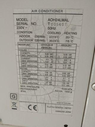 Aire acondicionado General 6000 frigorias.