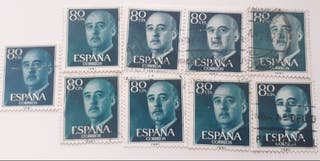 9 Sellos de Franco 80 cts matasellados