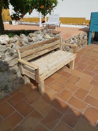 banco de madera palets jardin terraza