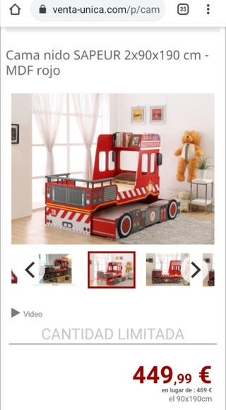 cama nido infantil bombero