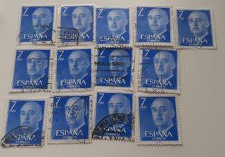 13 Sellos Franco 7 Ptas Azul 1974
