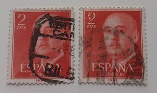 2 Sellos Franco 2 Ptas Rojo Matasellados 1955