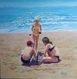 cuadro al óleo. niños en la playa
