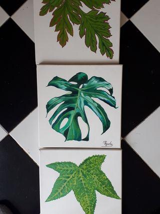 3 cuadros al óleo sobre lienzo de 30x30cm