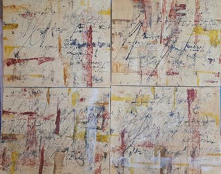 4 cuadros al óleo sobre lienzo. título letras abs