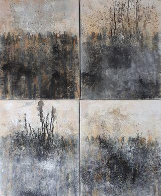 4 cuadros al óleo y técnicas mixtas. 46x38cm