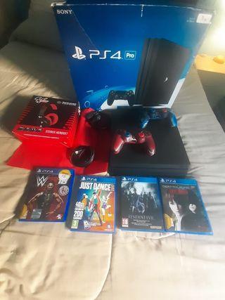 PS4 Pro 1 TB +2 Mandos+Cascos+Juegos