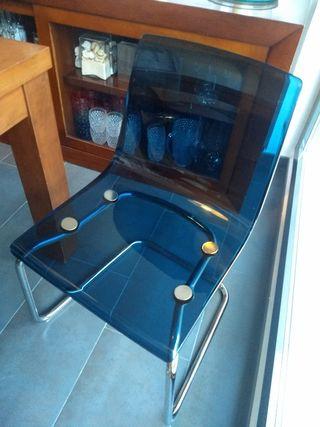 silla metacrilato azul Ikea