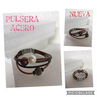 PULSERA CUERO/ACERO/PERLA nueva