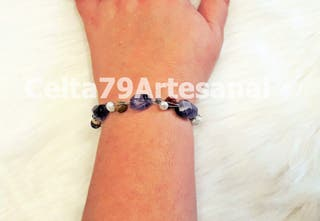 Pulsera artesanal de gemas naturales, amatista etc