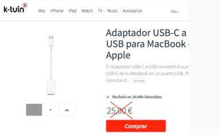 Adaptador Apple MacBook USB-C a USB original NUEVO