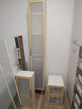 Juego de 3 muebles para baño y mampara de cristal