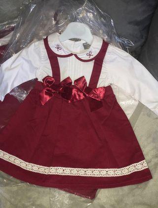 Baby girls red pinafore dress